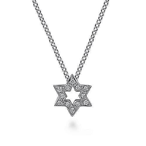 Gabriel - 14k White Gold Cutout Pave Diamond Star of David Necklace
