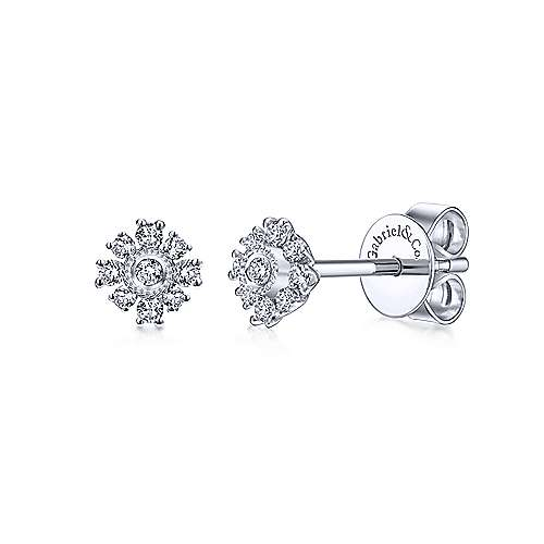 14k White Gold Dainty Floral Diamond Stud Earrings