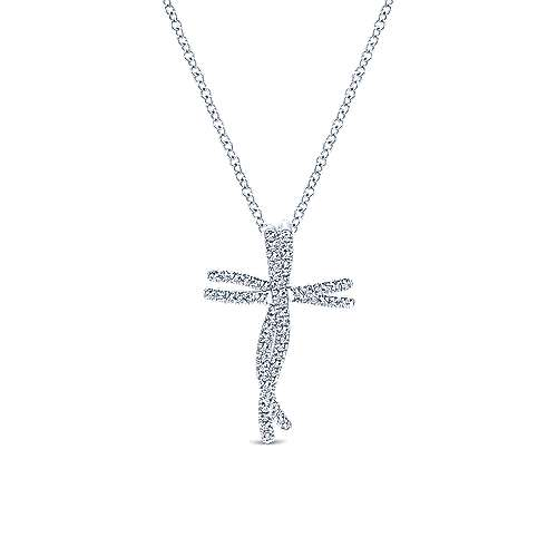 Gabriel - 14k White Gold Dancing Diamond Cross Necklace
