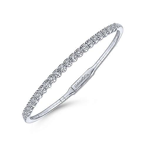 14k White Gold Demure Bangles Bangle angle 2