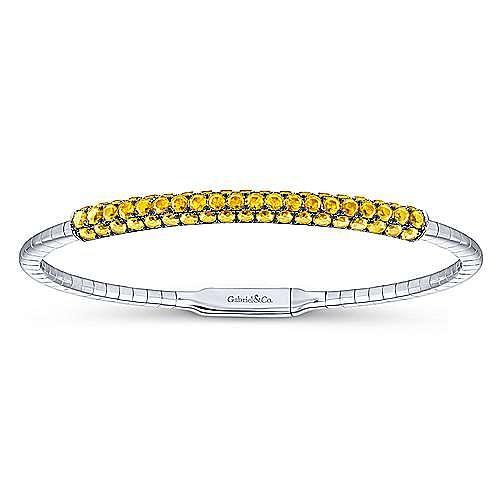 14k White Gold Demure Bangle angle 1