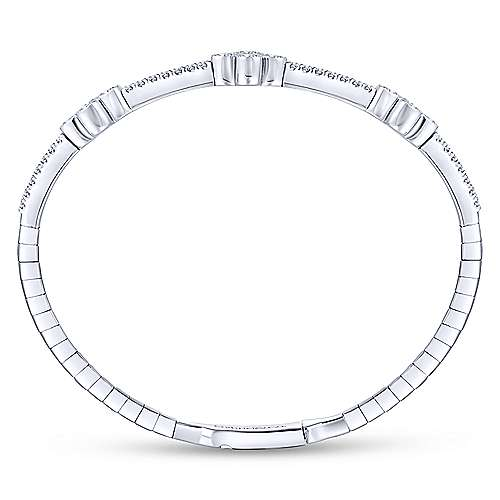 14k White Gold Demure Bangle angle 3
