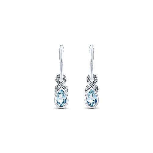 14k White Gold Diamond & Pear Shaped Aquamarine Huggie Drop Earrings