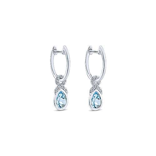 14k White Gold Diamond & Pear Shaped Aquamarine Huggie Drop Earrings