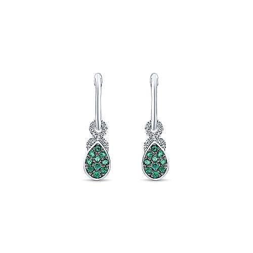 14k White Gold Diamond & Pear Shaped Emerald Cluster Huggie Drop Earrings