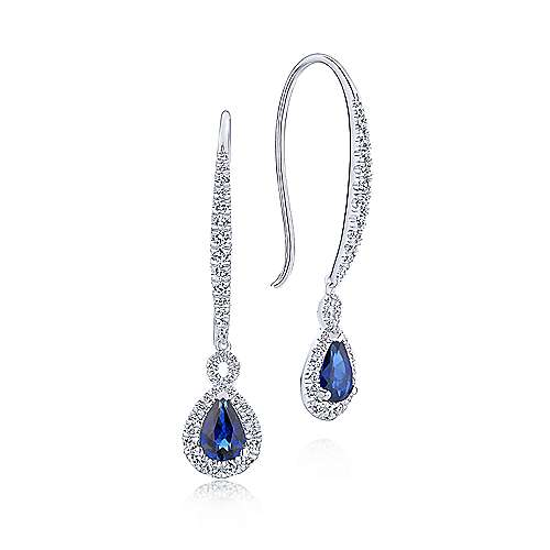 Gabriel - 14k White Gold Diamond & Pear Shaped Sapphire Elongated Drop Earrings