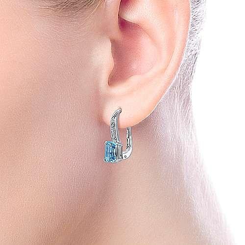 14k White Gold Diamond & Swiss Blue Topaz Drop Earrings
