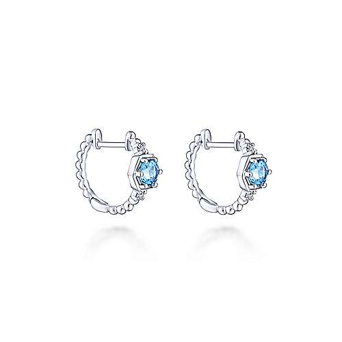 14k White Gold Diamond & Swiss Blue Topaz Huggie Earrings