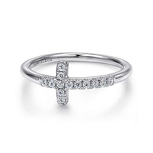 14k White Gold Diamond Cross Fashion Ring