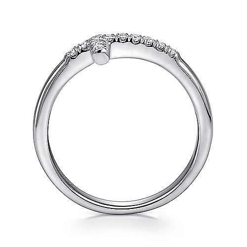 14k White Gold Diamond Cross Fashion Ring