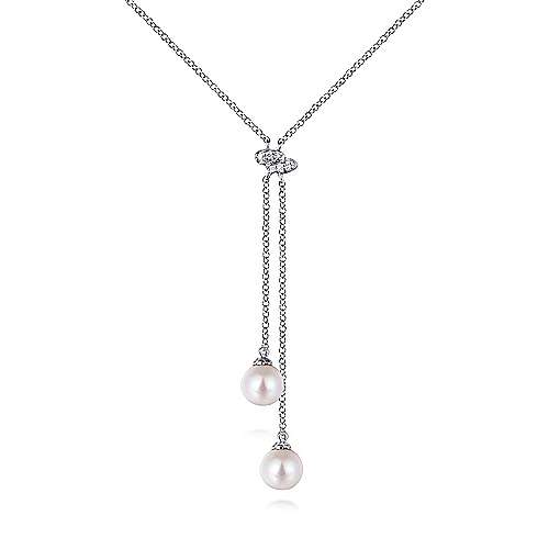 14k White Gold Diamond Cultured Pearl Lariat Necklace