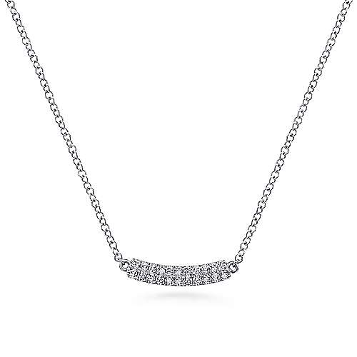 Gabriel - 14k White Gold Diamond Curved Bar Necklace