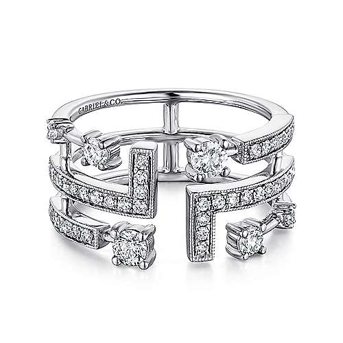 14k White Gold Diamond Cutout Open Wide Band Ladies Ring