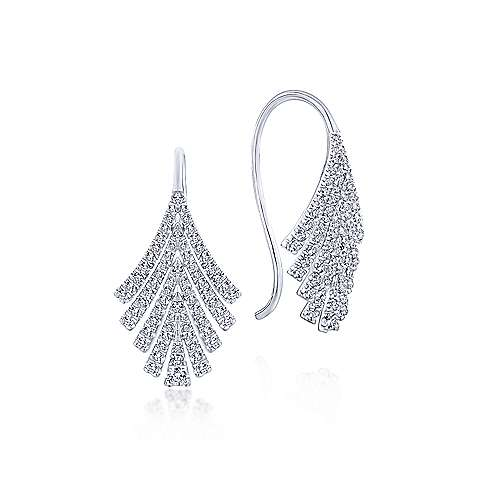 14k White Gold Diamond Fan Drop Earrings