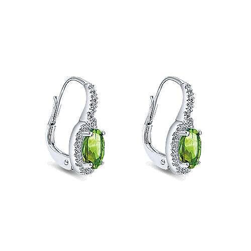 14k White Gold Diamond Halo Oval Cut Peridot Drop Earrings