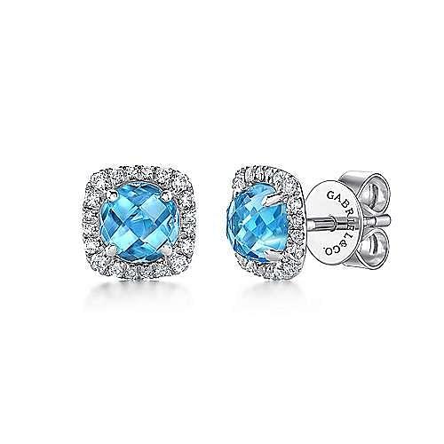 Gabriel - 14k White Gold Diamond Halo Swiss Blue Topaz Stud Earrings