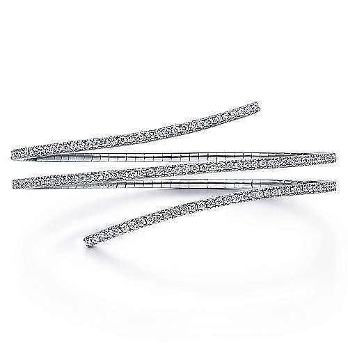 Gabriel - 14k White Gold Diamond Layered Wrap Bangle Bracelet