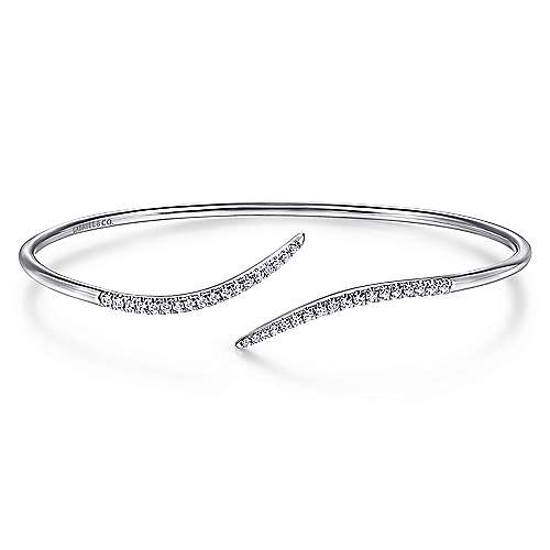 Gabriel - 14k White Gold Diamond Open Pave Bangle