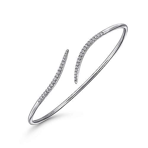 14k White Gold Diamond Open Pave Bangle