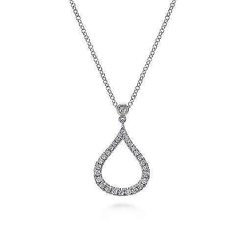 Gabriel - 14k White Gold Diamond Pave Droplet Fashion Necklace