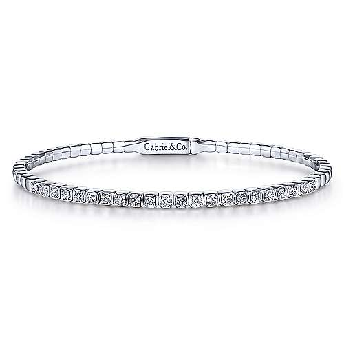 Gabriel - 14k White Gold Diamond Square Bangle