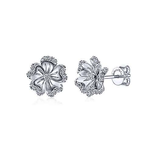 14k White Gold Diamond Tipped Flower Stud Earrings