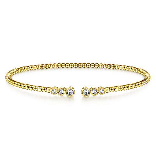 Gabriel - 14k White Gold Diamond Tipped Open Bangle Bracelet