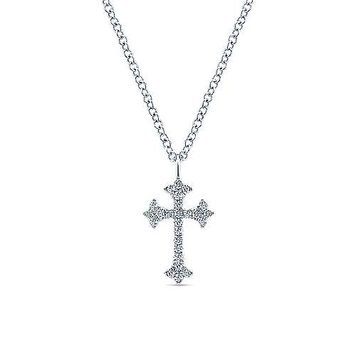 Gabriel - 14k White Gold Diamond Trefoil Cross Necklace