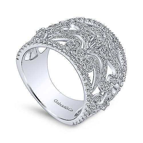 14k White Gold Diamond Wide Band Pave Filgree Ladies' Ring