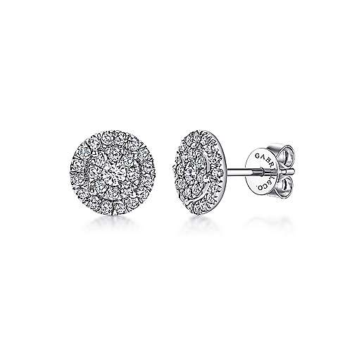 Gabriel - 14k White Gold Double Diamond Halo Stud Earrings