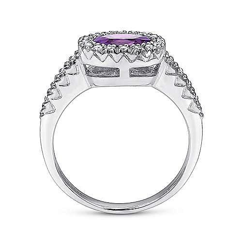 14k White Gold East-West Set Oval Amethyst & Diamond Fashion Ring