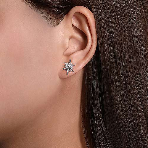 14k White Gold Elongated Diamond Starburst Earrings