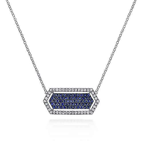 14k White Gold Elongated Hexagonal Diamond & Sapphire Fashion Necklace