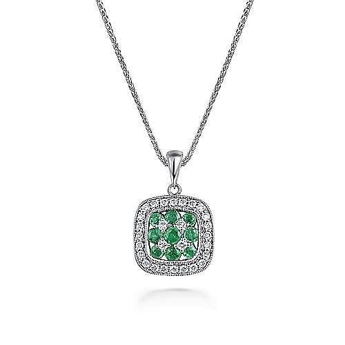 14k White Gold Emerald & Diamond Checkered Pendant Necklace