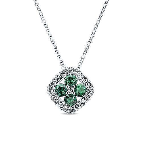 14k White Gold Emerald Cluster & Diamond Fashion Necklace