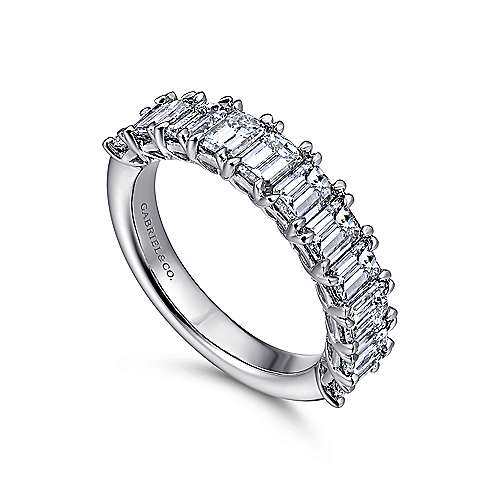 14k White Gold Emerald Cut 11 Stone Diamond Anniversary Band angle 3