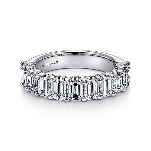 Gabriel - 14k White Gold Emerald Cut 11 Stone Diamond Anniversary Band
