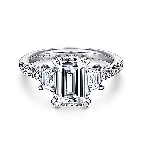 14k White Gold Emerald Cut 3 Stones Engagement Ring