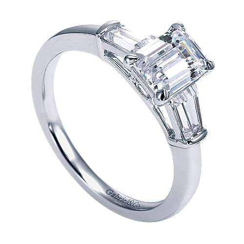 14k White Gold Emerald Cut 3 Stones Engagement Ring angle 3