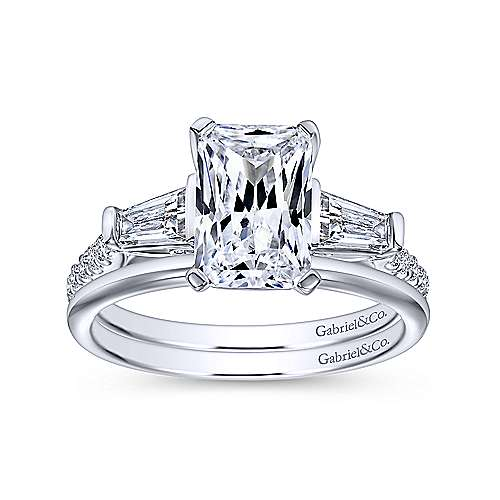 14k White Gold Emerald Cut 3 Stones Engagement Ring angle 4