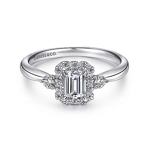 Gabriel - 14k White Gold Emerald Cut 3 Stones Halo Engagement Ring