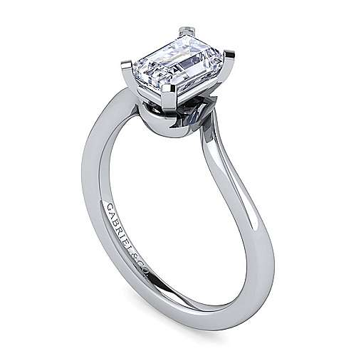 14k White Gold Emerald Cut Solitaire Engagement Ring angle 3
