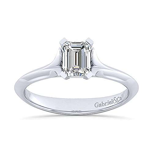 14k White Gold Emerald Cut Solitaire Engagement Ring angle 5