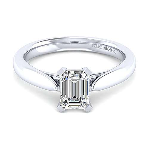 Gabriel - 14k White Gold Emerald Cut Solitaire Engagement Ring
