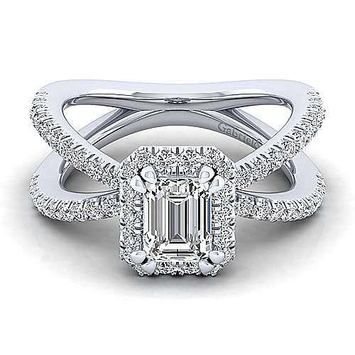 Gabriel - 14k White Gold Emerald Cut Split Shank Engagement Ring