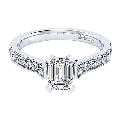 Gabriel - 14k White Gold Emerald Cut Straight Engagement Ring