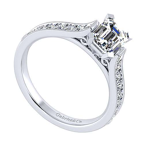 14k White Gold Emerald Cut Straight Engagement Ring angle 3