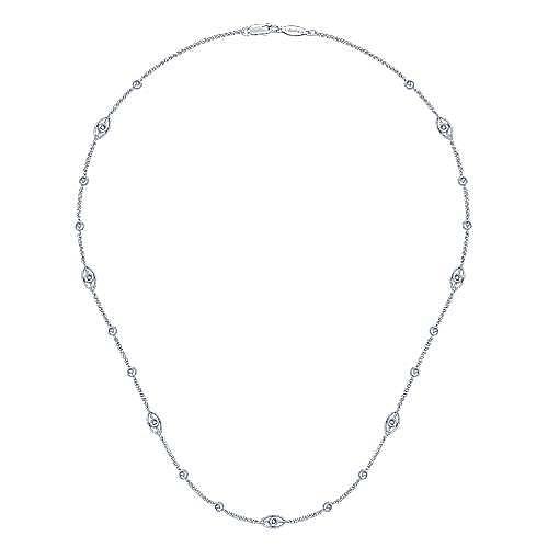 14k White Gold Endless Diamonds Station Necklace angle 2