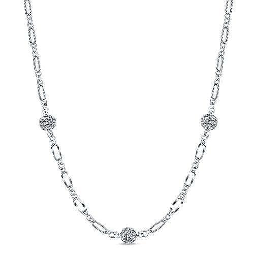 Gabriel - 14k White Gold Endless Diamonds Station Necklace