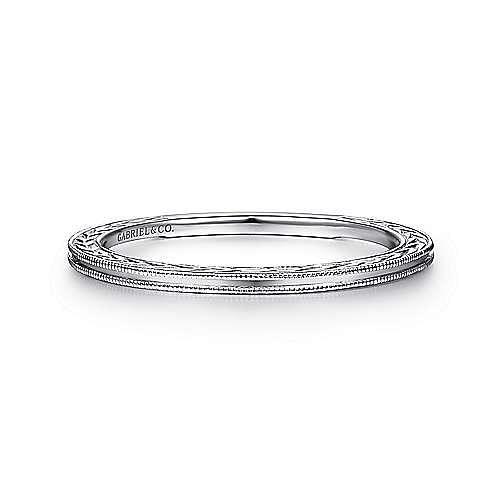 Gabriel - 14k White Gold Engraved Milgrain Slim Stackable Ring